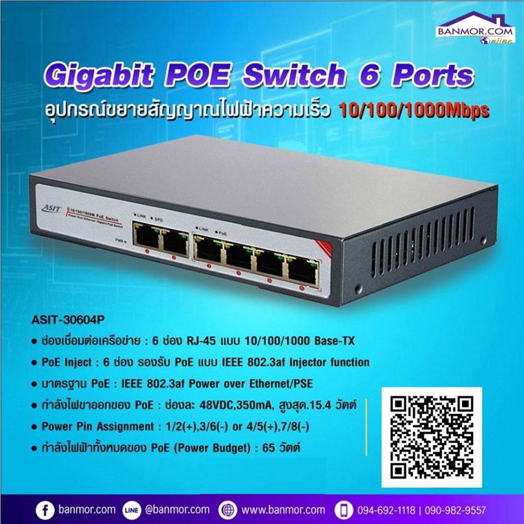 อุปกรณ์ขยายสญญาณไฟ POE Switch